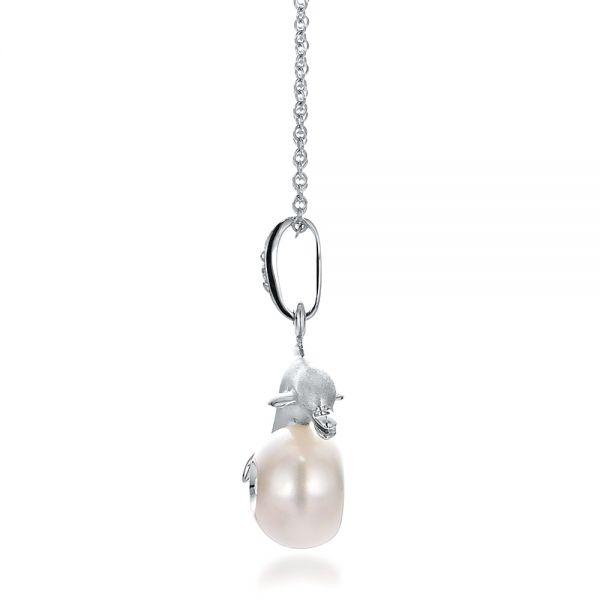 Dolphin, Fresh White Pearl and Diamond Pendant - Side View -  100336 - Thumbnail