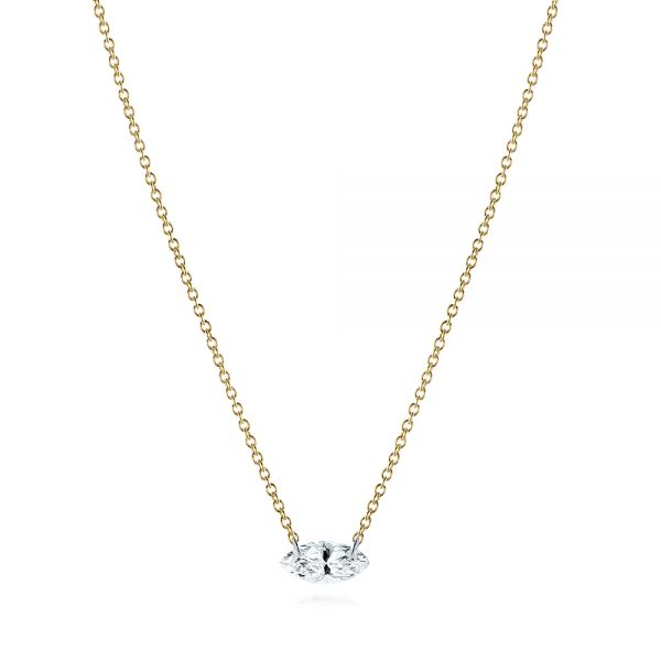 14k Yellow Gold Drilled Diamond Necklace - Three-Quarter View -  105221