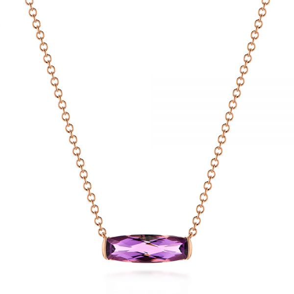Elongated Cushion Cut Amethyst Pendant - Image