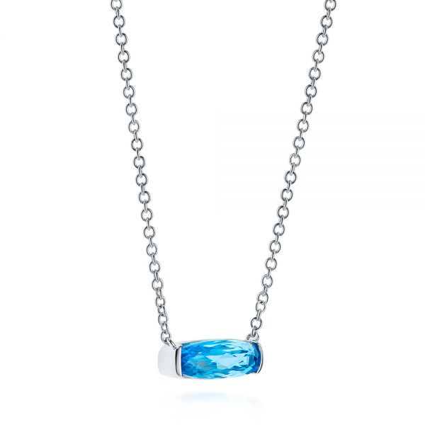 Elongated Cushion Cut Blue Topaz Pendant - Flat View -  105438