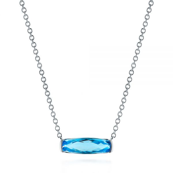 Elongated Cushion Cut Blue Topaz Pendant - Three-Quarter View -  105438