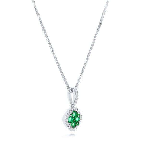 Emerald Cluster and Diamond Halo Pendant - Laying View