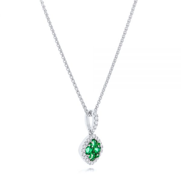Emerald Cluster And Diamond Halo Pendant - Flat View -  102621