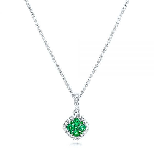Emerald Cluster and Diamond Halo Pendant - Image