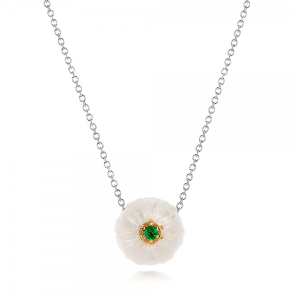 Lily Fresh Water Carved Pearl and Emerald Pendant