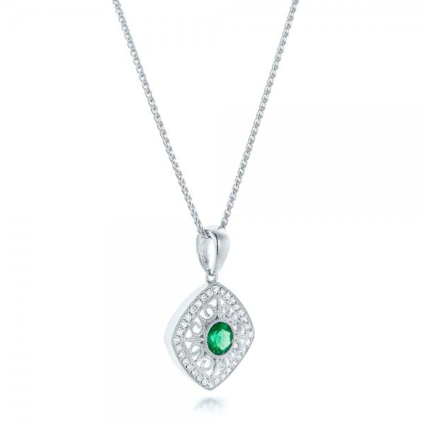 Emerald and Diamond Filigree Pendant - Laying View