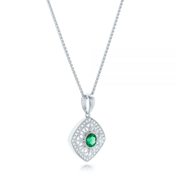 Emerald And Diamond Filigree Pendant - Flat View -