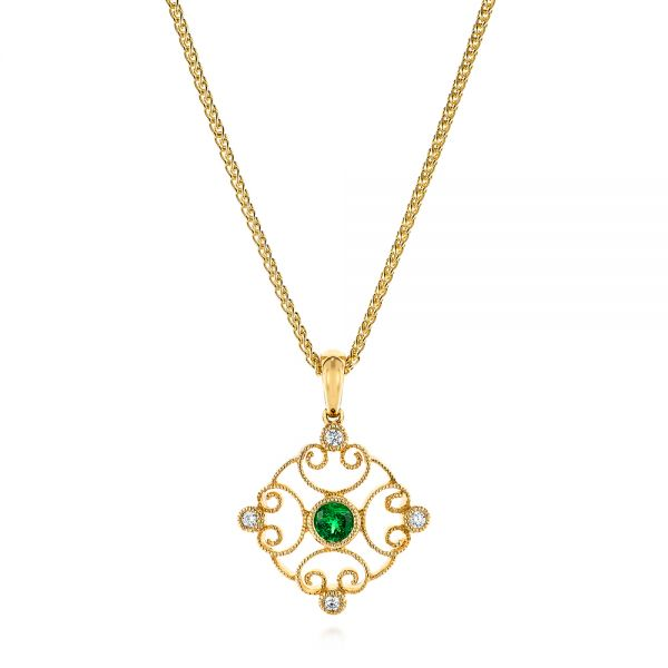 Emerald and Diamond Filigree Pendant - Image