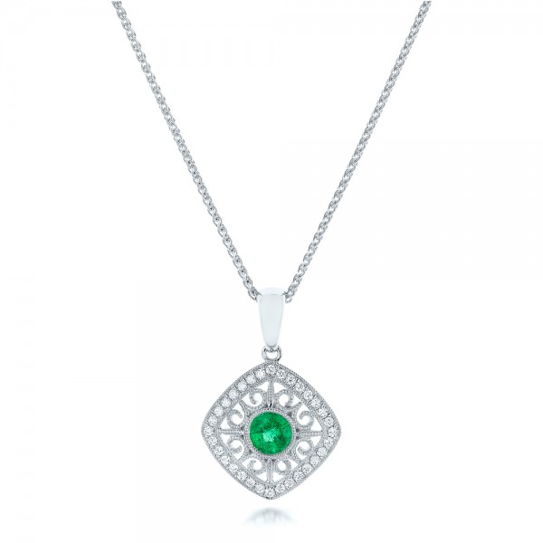 Emerald and Diamond Filigree Pendant