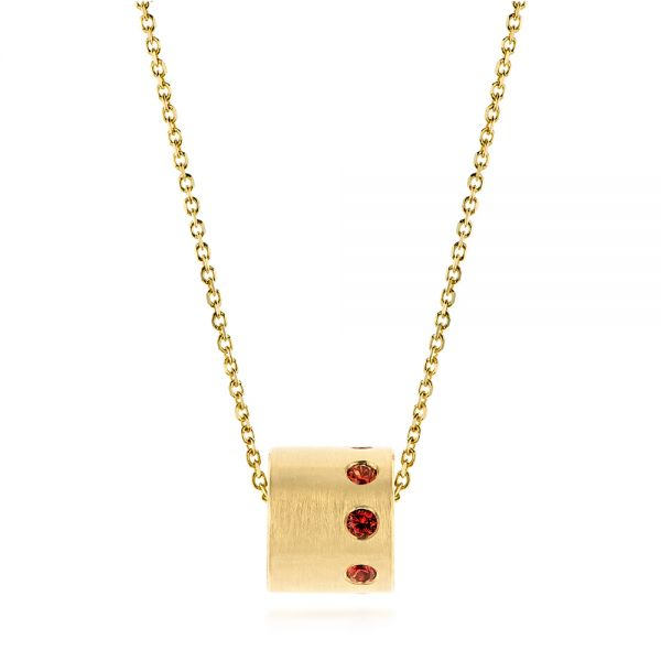 14k Yellow Gold Fortuna Slide Necklace With Orange Sapphires - Three-Quarter View -