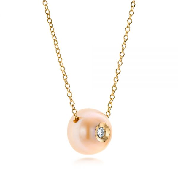 Fresh Peach Pearl And Diamond Pendant - Flat View -