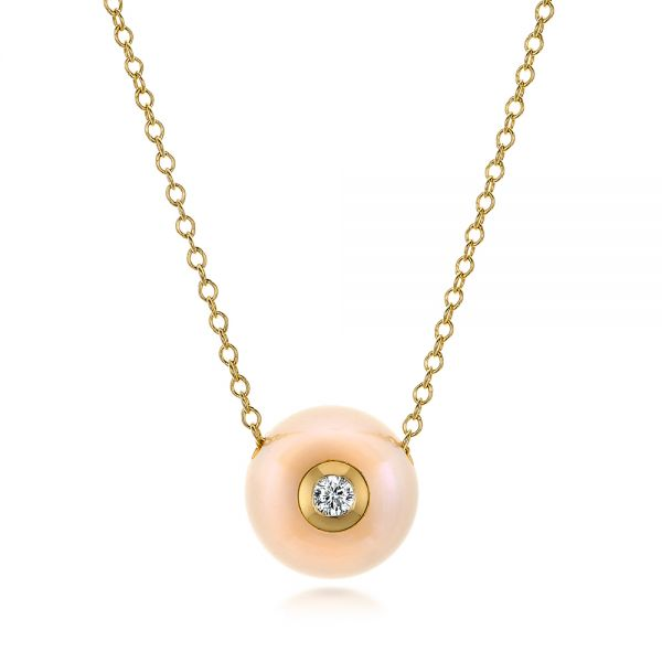 Fresh Peach Pearl and Diamond Pendant - Image
