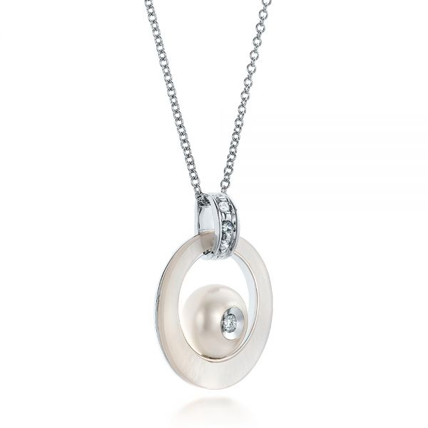 Fresh White Pearl And Diamond Pendant - Flat View -