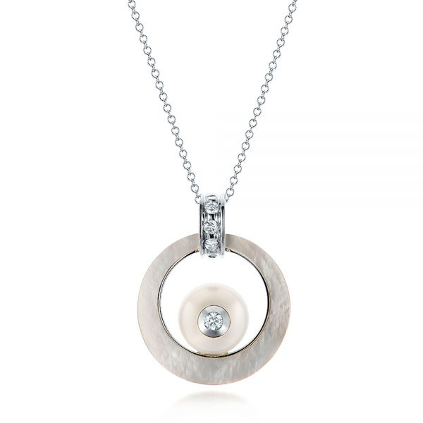 Fresh White Pearl and Diamond Pendant - Image