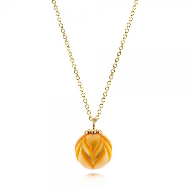 Golden Pearl Tulip Pendant