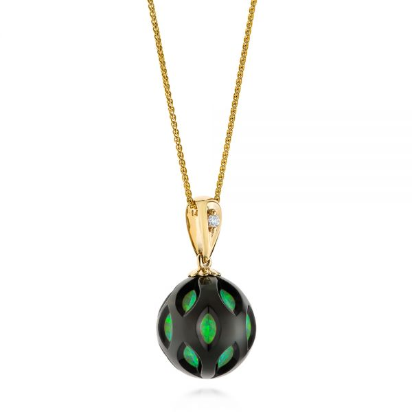 14k Yellow Gold Green Opal Pearl Cut-out Pendant - Flat View -