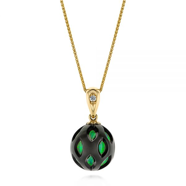 14k Yellow Gold Green Opal Pearl Cut-out Pendant - Three-Quarter View -