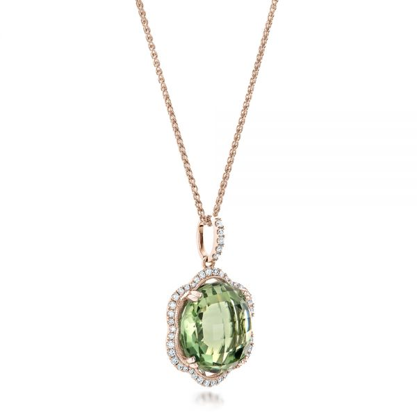 18k Rose Gold 18k Rose Gold Green Quartz Checkerboard And Diamond Halo Pendant - Flat View -  101938
