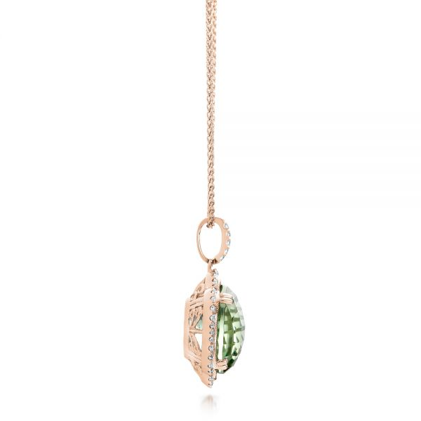 18k Rose Gold 18k Rose Gold Green Quartz Checkerboard And Diamond Halo Pendant - Side View -  101938