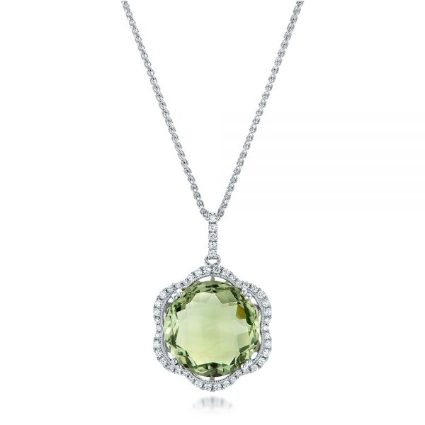 Green Quartz Checkerboard and Diamond Halo Pendant - Image
