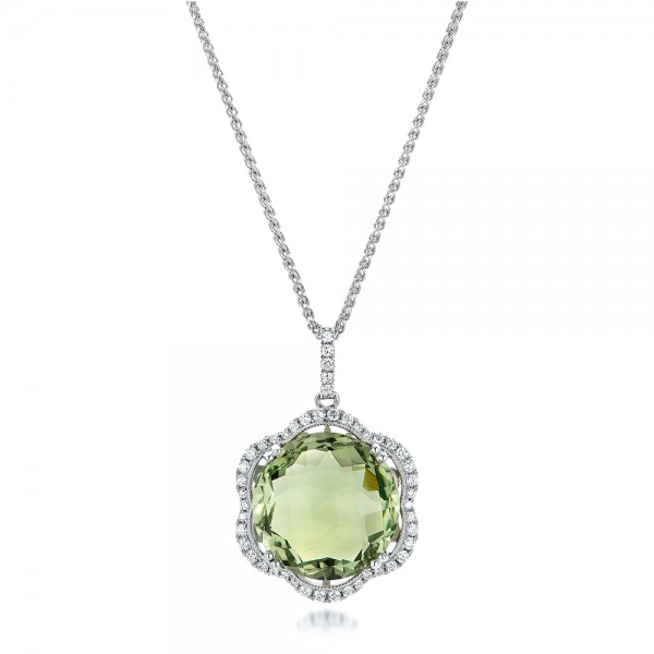 Green Quartz Checkerboard and Diamond Halo Pendant