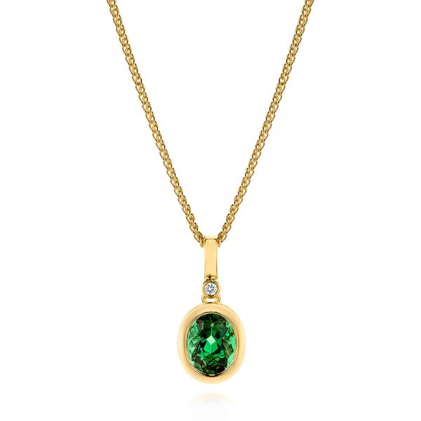 Green Tourmaline and Diamond Pendant - Image