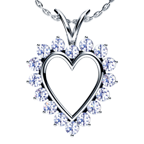 Heart Shaped Diamond Pendant - 3/4 View