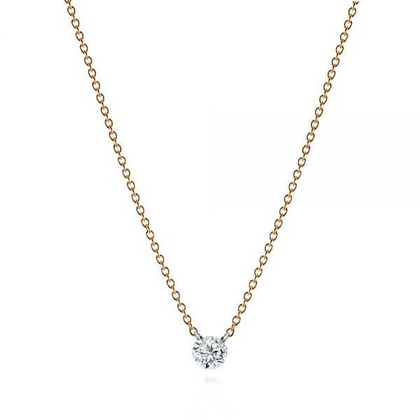 14k Rose Gold Invisible Set Round Brilliant Diamond Necklace - Three-Quarter View -
