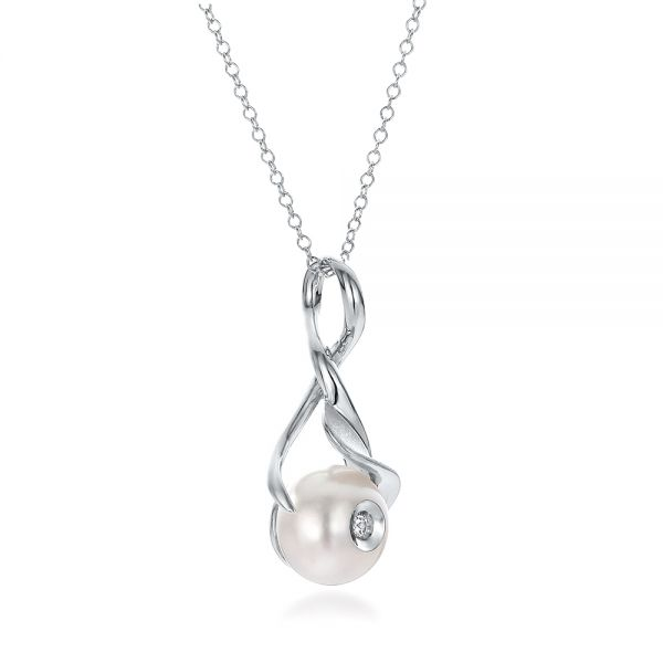 Leaf Fresh White Pearl And Diamond Pendant - Flat View -