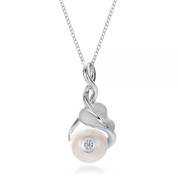 Leaf, Fresh White Pearl and Diamond Pendant - Image