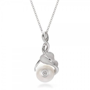 Leaf, Fresh White Pearl and Diamond Pendant
