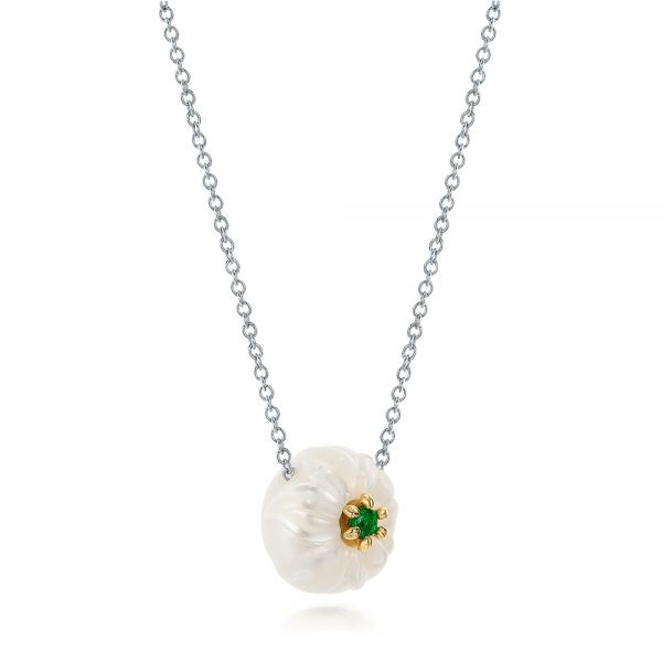 Lily Fresh Water Carved Pearl and Emerald Pendant - Flat View -  101969 - Thumbnail