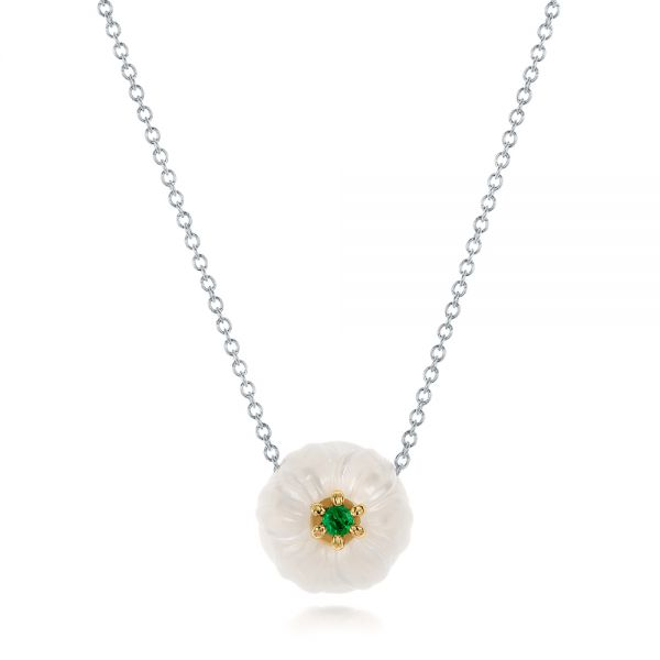 Lily Fresh Water Carved Pearl and Emerald Pendant - Image
