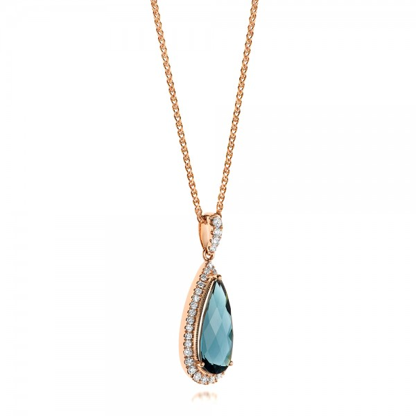 Rose Gold London Blue Topaz and Diamond Halo Pendant - Laying View