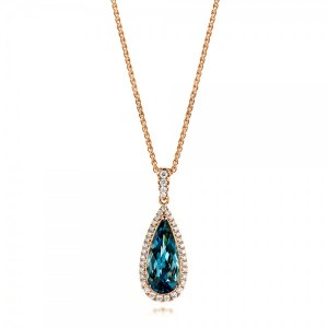 Rose Gold London Blue Topaz and Diamond Halo Pendant