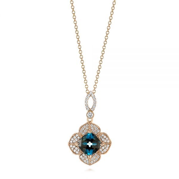 London Blue Topaz and Diamond Pendant - Image