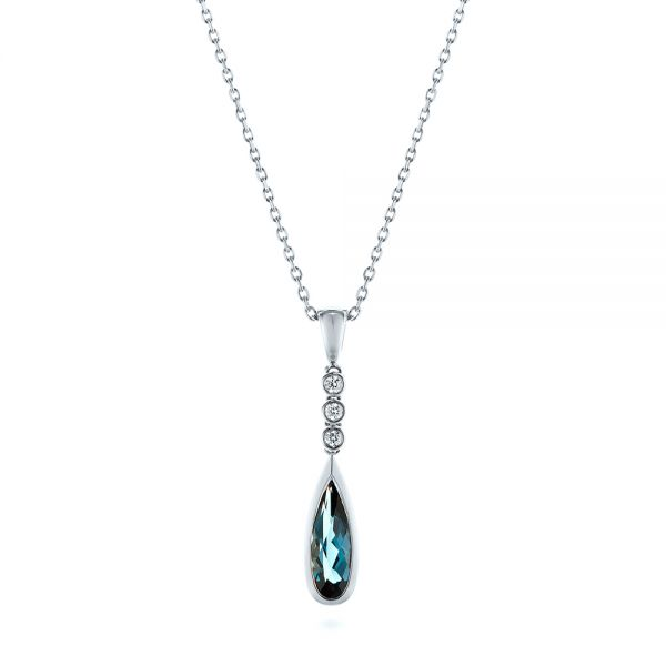 18k White Gold 18k White Gold London Blue Topaz And Diamond Pendant - Three-Quarter View -  105398