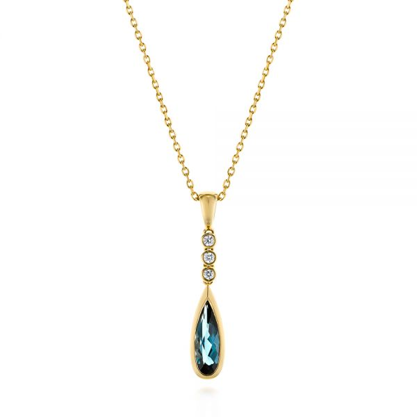 18k Yellow Gold 18k Yellow Gold London Blue Topaz And Diamond Pendant - Three-Quarter View -  105398