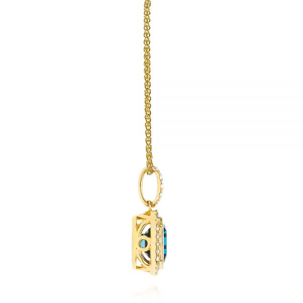 14k Yellow Gold London Blue Topaz And Diamond Pendant - Side View -