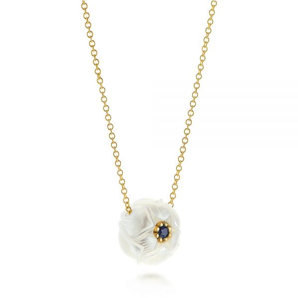 Lotus Fresh Water Carved Pearl and Blue Sapphire Pendant - Flat View -  103245 - Thumbnail