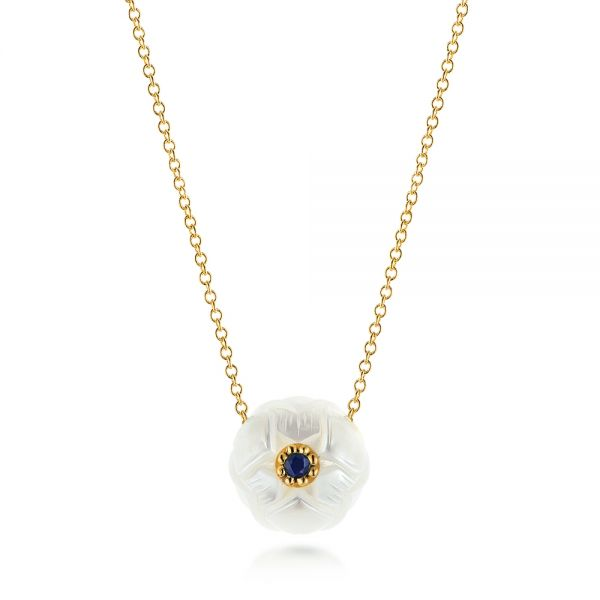 Lotus Fresh Water Carved Pearl and Blue Sapphire Pendant - Image