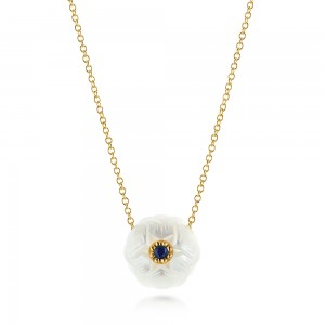 Lotus Fresh Water Carved Pearl and Blue Sapphire Pendant