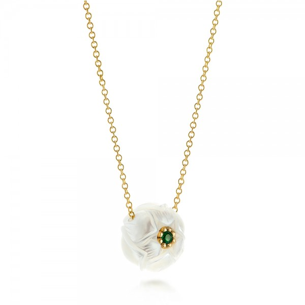 Lotus Fresh Water Carved Pearl and Emerald Pendant - Flat View -  103244 - Thumbnail