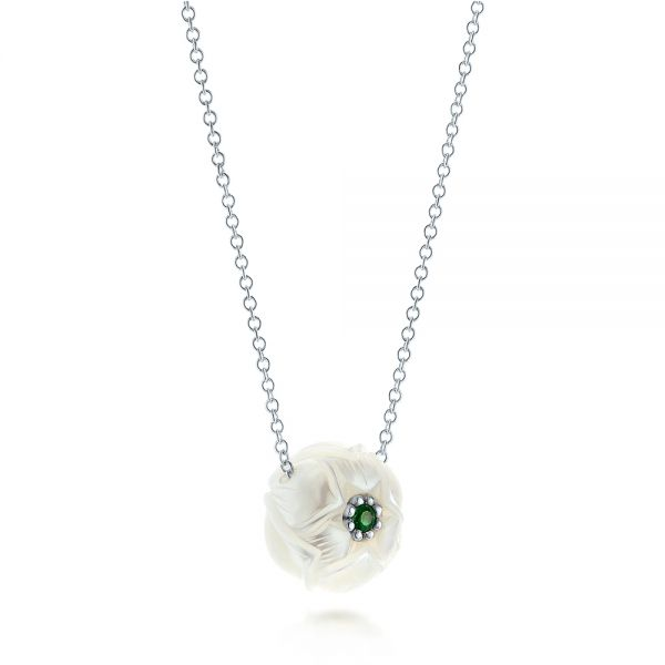 Platinum Platinum Lotus Fresh Water Carved Pearl And Emerald Pendant - Flat View -  103244