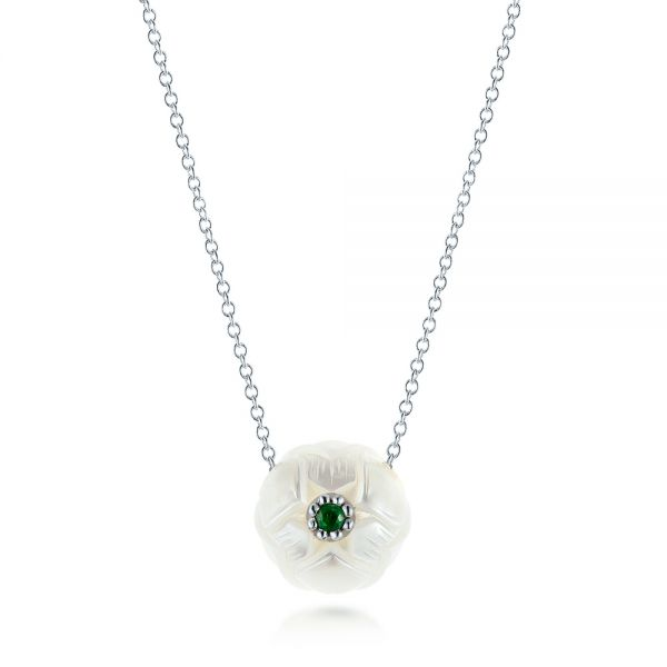 Platinum Platinum Lotus Fresh Water Carved Pearl And Emerald Pendant - Three-Quarter View -  103244