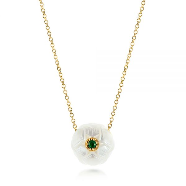 Lotus Fresh Water Carved Pearl and Emerald Pendant - Image