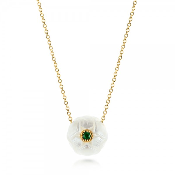 Lotus Fresh Water Carved Pearl and Emerald Pendant
