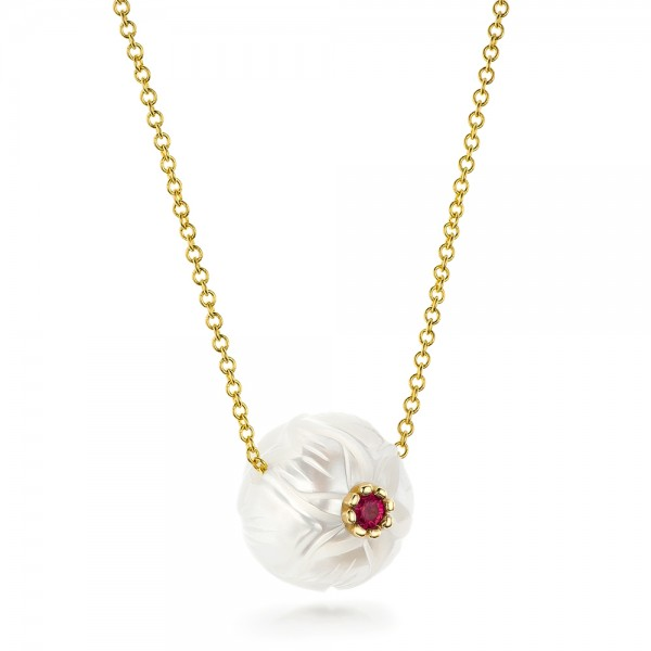 Lotus Fresh Water Carved Pearl and Ruby Pendant - Laying View