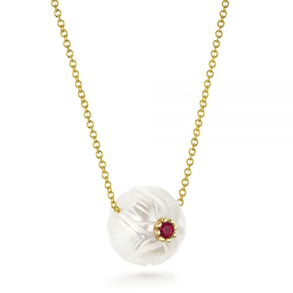 Lotus Fresh Water Carved Pearl And Ruby Pendant - Flat View -