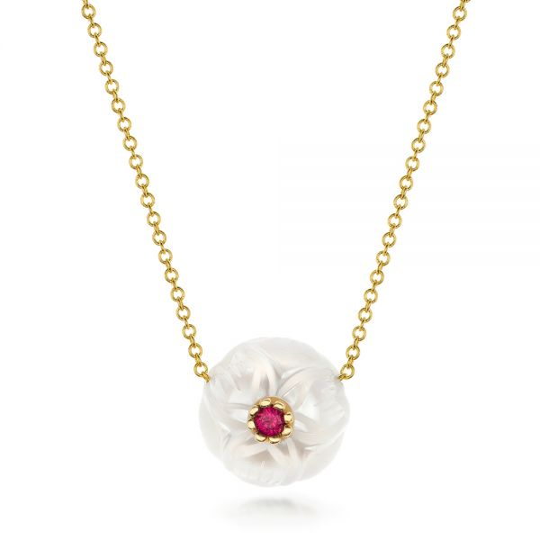 Lotus Fresh Water Carved Pearl and Ruby Pendant - Image